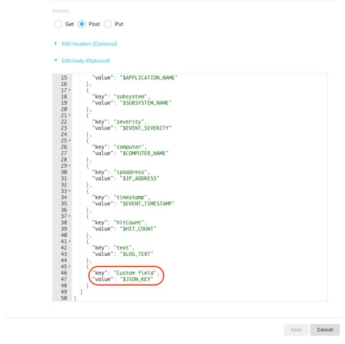 coralogix webhook payload with custom key