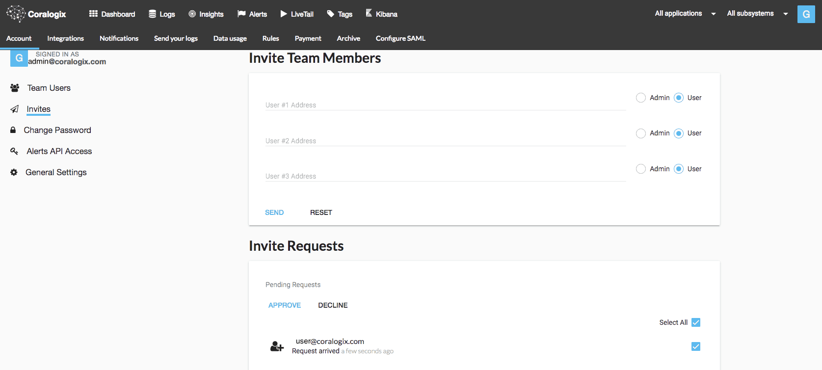 coralogix admin panel receiving invite request