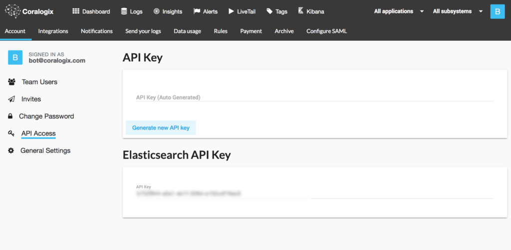 Coralogix API access key