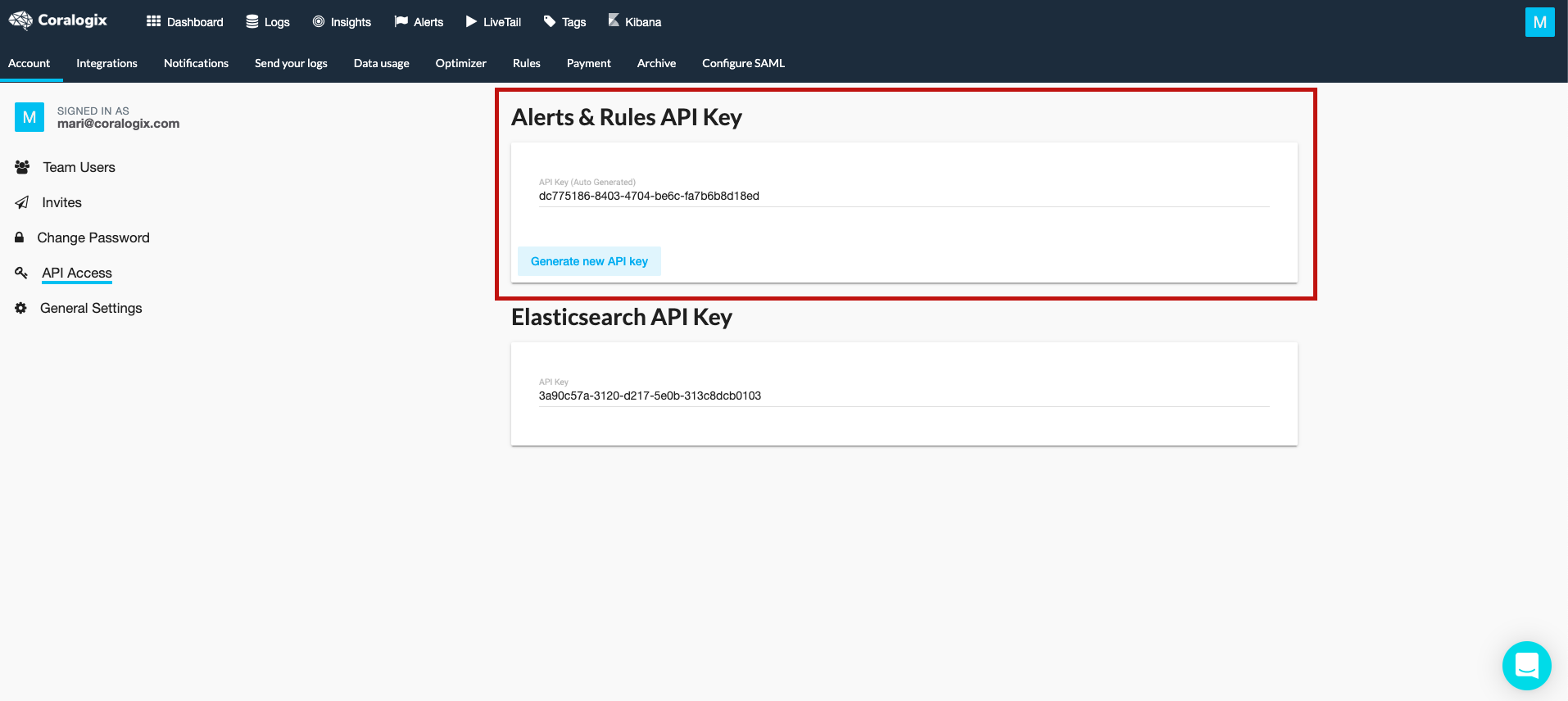generate api key coralogix rules api