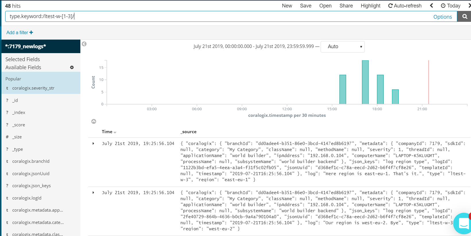 Kibana search example
