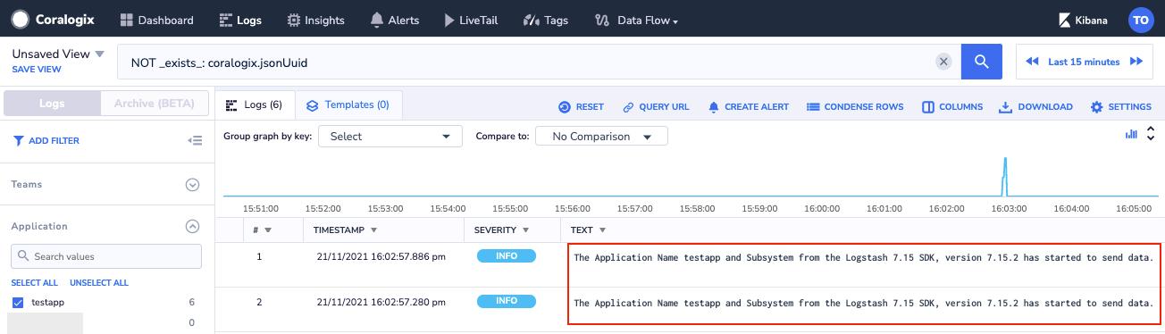 coralogix troubleshooting log says sdk start send data