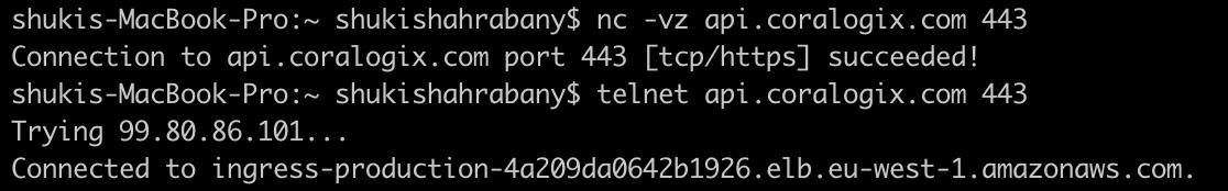 coralogix telnet-nc-succeed