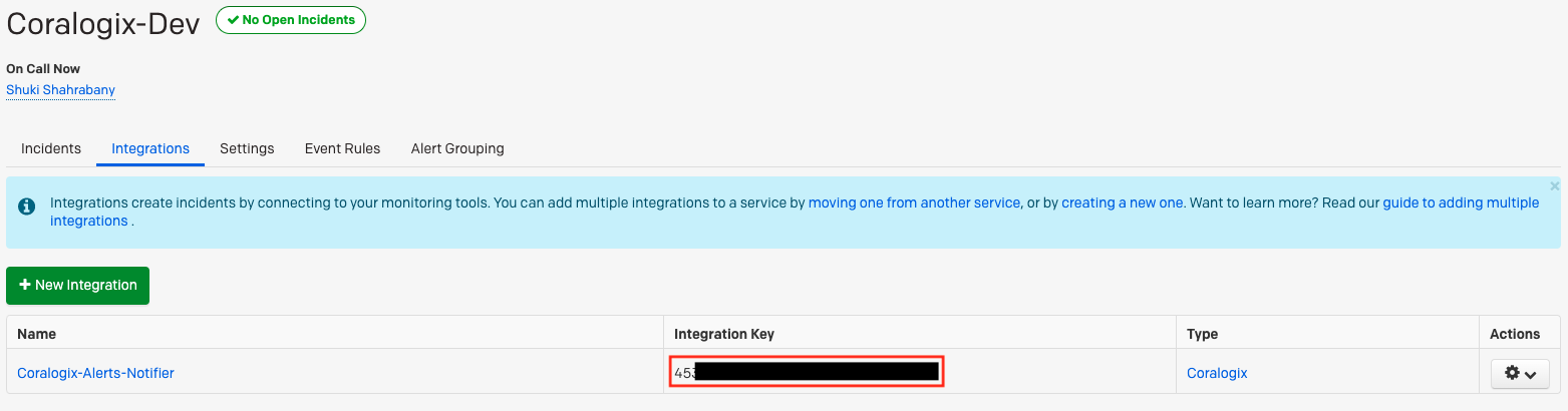 coralogix pagerduty tutorial integration key