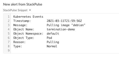 stackpulse alert kubernetes logs