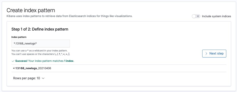 creating index pattern step 1