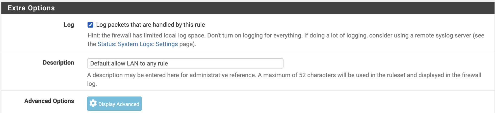 extra configuration options pfsense