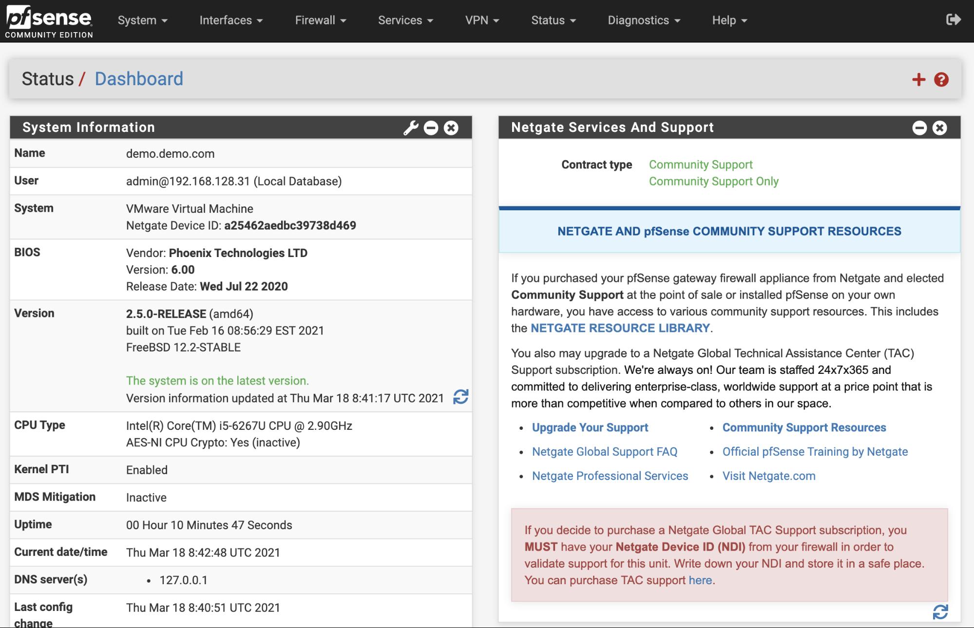 pfsense web interface
