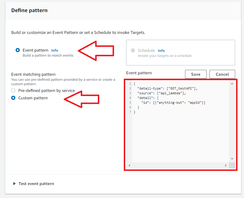 create custom pattern eventbridge