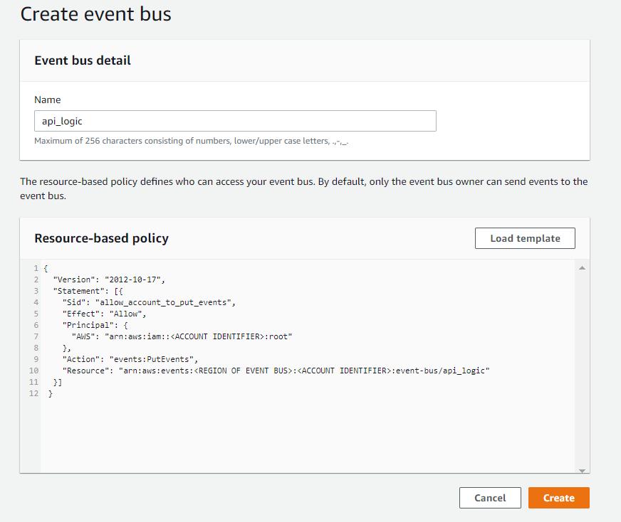 create new event bus eventbridge