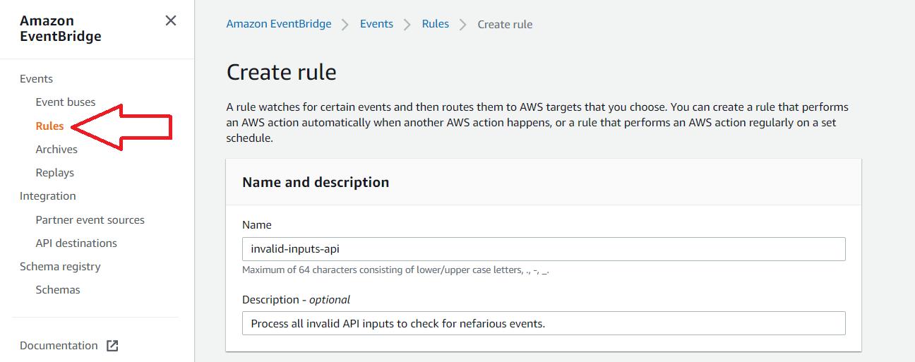 create new rule eventbridge