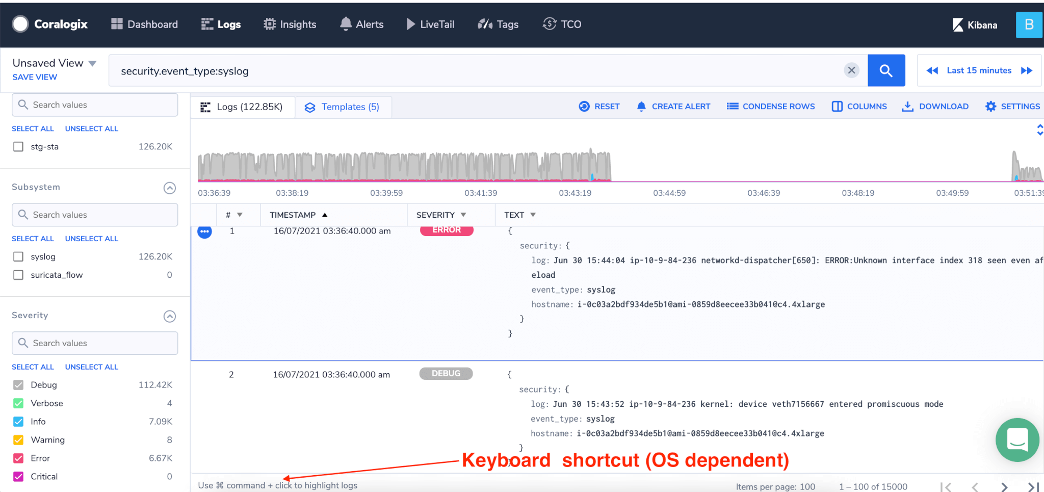 log screen highlight keyboard shortcut