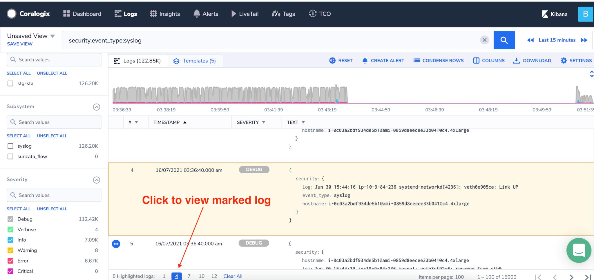 log screen navigate to highlighted log