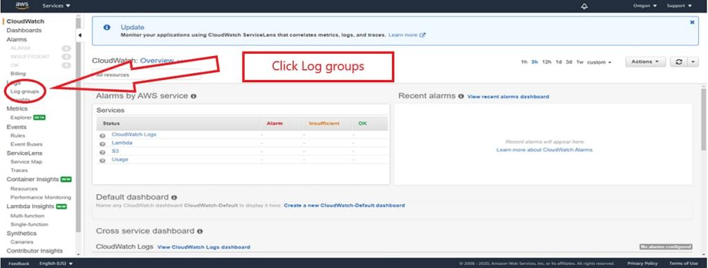 click log groups screenshot